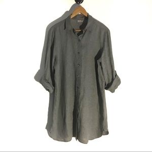 J Jill Linen Shirt Dress Gray Womens Size S Button